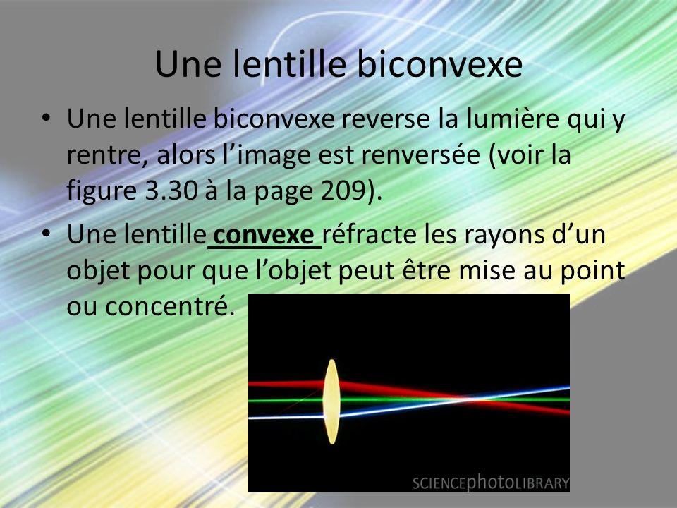 Une lentille biconvexe Une lentille biconvexe reverse la lumière qui y rentre, alors limage est renversée (voir la figure 3.30 à la page 209). Une len