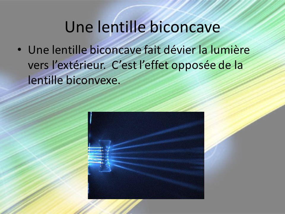 Une lentille biconcave Une lentille biconcave fait dévier la lumière vers lextérieur. Cest leffet opposée de la lentille biconvexe.