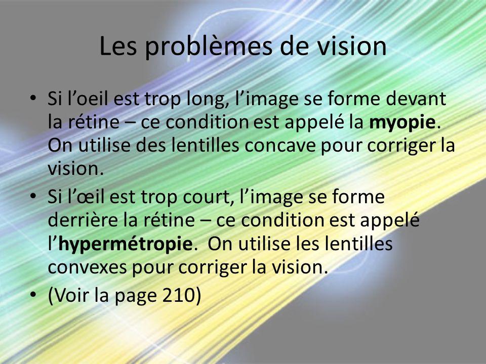 Les problèmes de vision Si loeil est trop long, limage se forme devant la rétine – ce condition est appelé la myopie. On utilise des lentilles concave