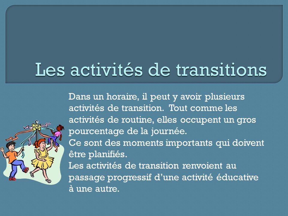 Dans un horaire, il peut y avoir plusieurs activités de transition.