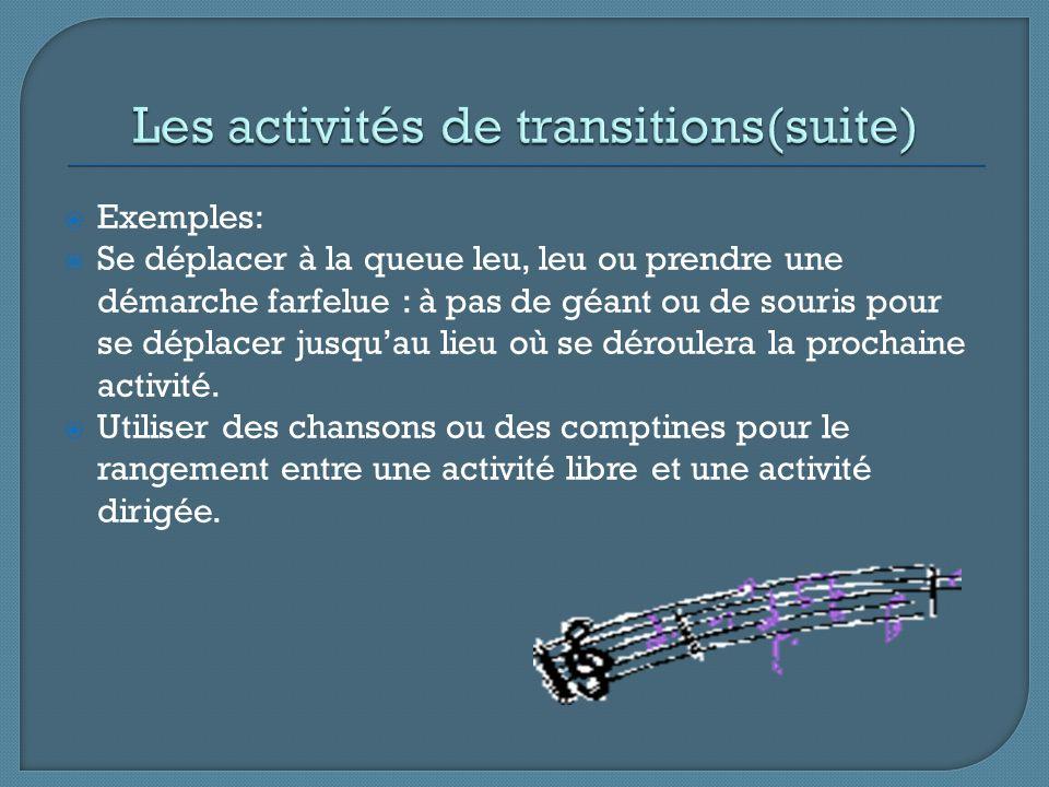 Exemples: Se déplacer à la queue leu, leu ou prendre une démarche farfelue : à pas de géant ou de souris pour se déplacer jusquau lieu où se déroulera la prochaine activité.