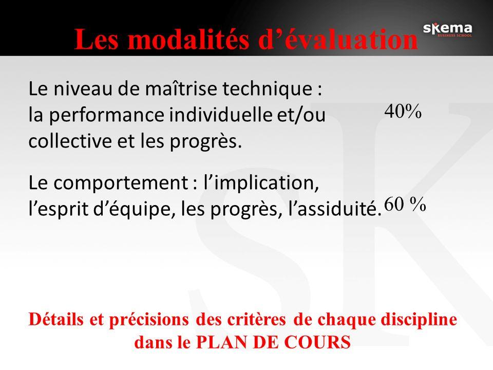 Les modalités dévaluation Le niveau de maîtrise technique : la performance individuelle et/ou collective et les progrès. Le comportement : limplicatio