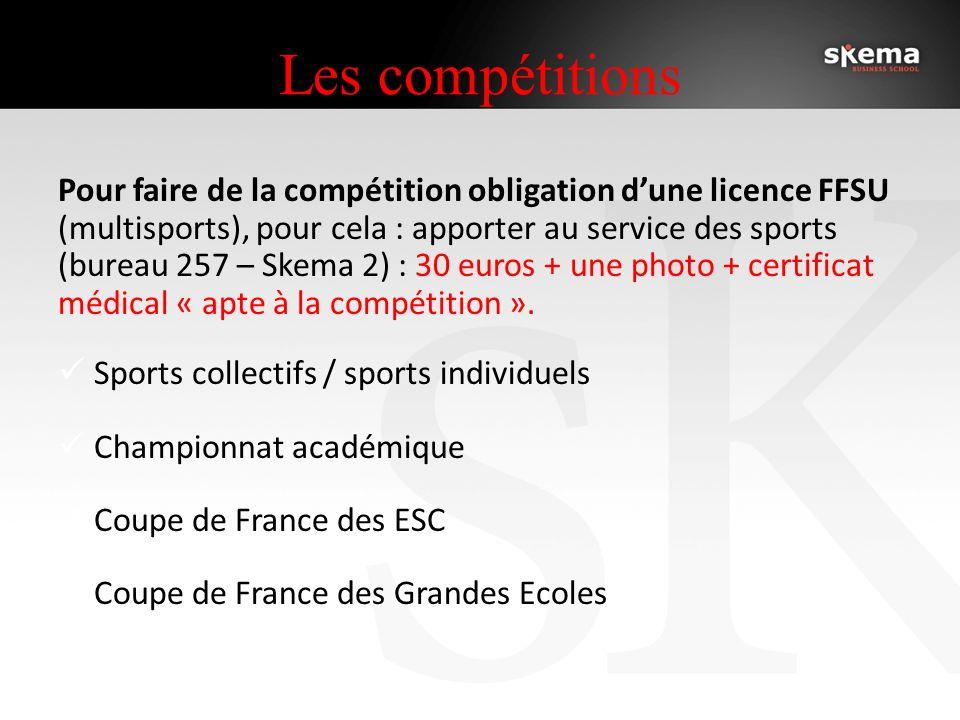 Les compétitions Pour faire de la compétition obligation dune licence FFSU (multisports), pour cela : apporter au service des sports (bureau 257 – Skema 2) : 30 euros + une photo + certificat médical « apte à la compétition ».