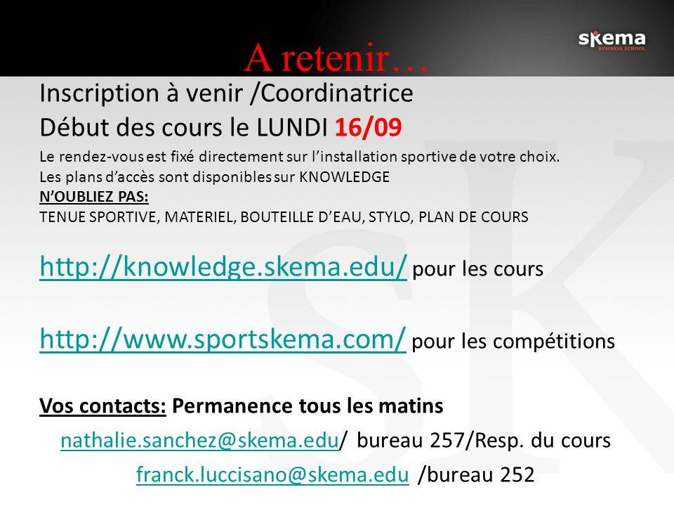 A retenir… Inscription à venir /Coordinatrice Début des cours le LUNDI 16/09 Le rendez-vous est fixé directement sur linstallation sportive de votre choix.