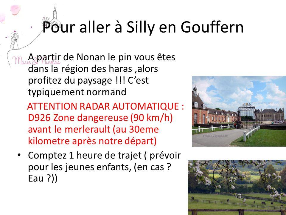 Pour aller à Silly en Gouffern A partir de Nonan le pin vous êtes dans la région des haras,alors profitez du paysage !!! Cest typiquement normand ATTE