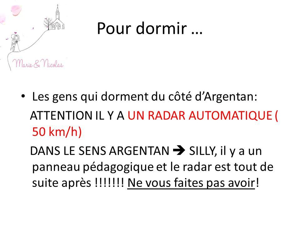 Pour dormir … Les gens qui dorment du côté dArgentan: ATTENTION IL Y A UN RADAR AUTOMATIQUE ( 50 km/h) DANS LE SENS ARGENTAN SILLY, il y a un panneau pédagogique et le radar est tout de suite après !!!!!!.