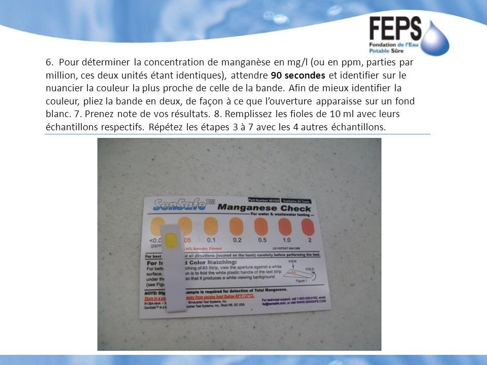 6. Pour déterminer la concentration de manganèse en mg/l (ou en ppm, parties par million, ces deux unités étant identiques), attendre 90 secondes et i