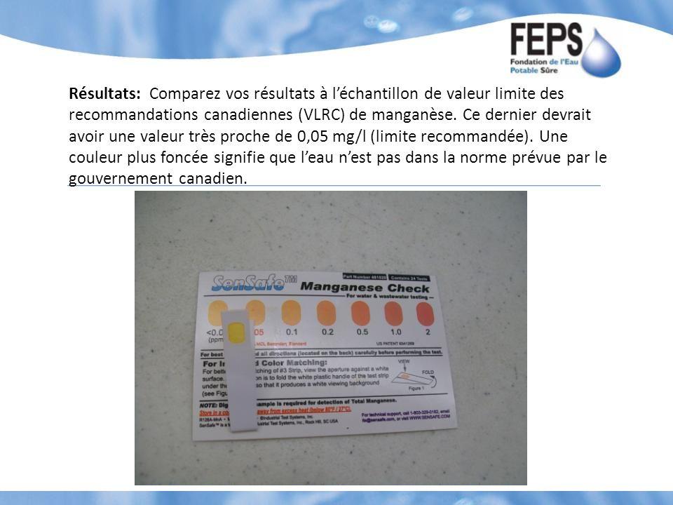 Résultats: Comparez vos résultats à léchantillon de valeur limite des recommandations canadiennes (VLRC) de manganèse. Ce dernier devrait avoir une va