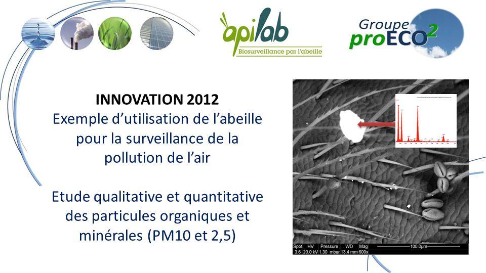 INNOVATION 2012 Exemple dutilisation de labeille pour la surveillance de la pollution de lair Etude qualitative et quantitative des particules organiques et minérales (PM10 et 2,5)