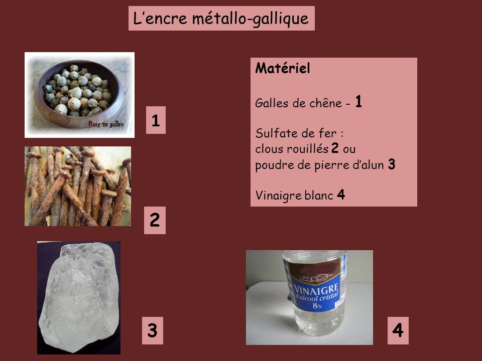 Lencre métallo-gallique Matériel Galles de chêne - 1 Sulfate de fer : clous rouillés 2 ou poudre de pierre dalun 3 Vinaigre blanc 4 1 2 34