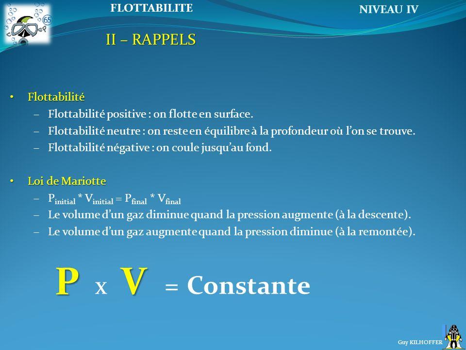 NIVEAU IV Guy KILHOFFER FLOTTABILITE FlottabilitéFlottabilité –Flottabilité positive : on flotte en surface. –Flottabilité neutre : on reste en équili