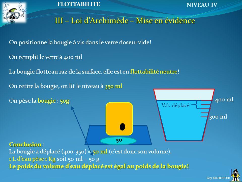 NIVEAU IV Guy KILHOFFER FLOTTABILITE III – Loi dArchimède – Mise en évidence 400 ml 300 ml On positionne la bougie à vis dans le verre doseur vide! On