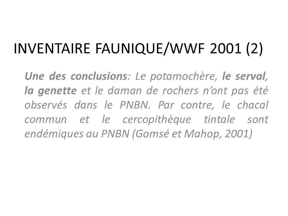 INVENTAIRE FAUNIQUE/WWF 2001 (2) Une des conclusions: Le potamochère, le serval, la genette et le daman de rochers nont pas été observés dans le PNBN.