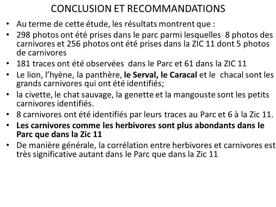 CONCLUSION ET RECOMMANDATIONS Au terme de cette étude, les résultats montrent que : 298 photos ont été prises dans le parc parmi lesquelles 8 photos d