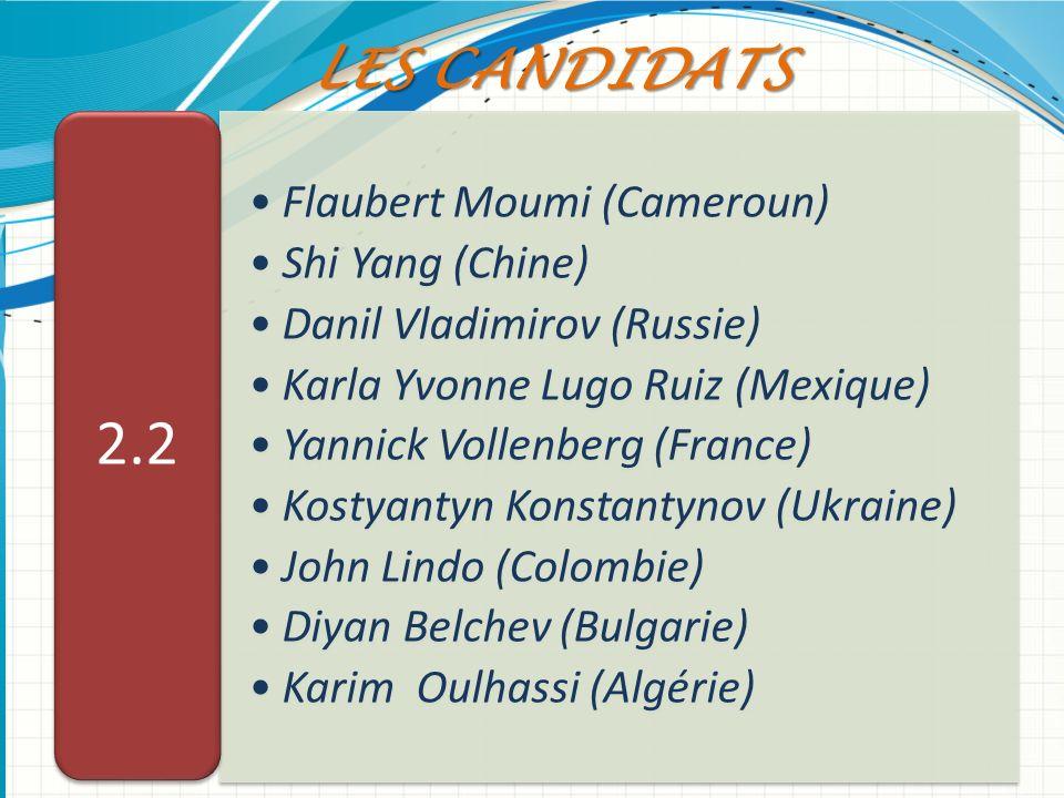Flaubert Moumi (Cameroun) Shi Yang (Chine) Danil Vladimirov (Russie) Karla Yvonne Lugo Ruiz (Mexique) Yannick Vollenberg (France) Kostyantyn Konstanty