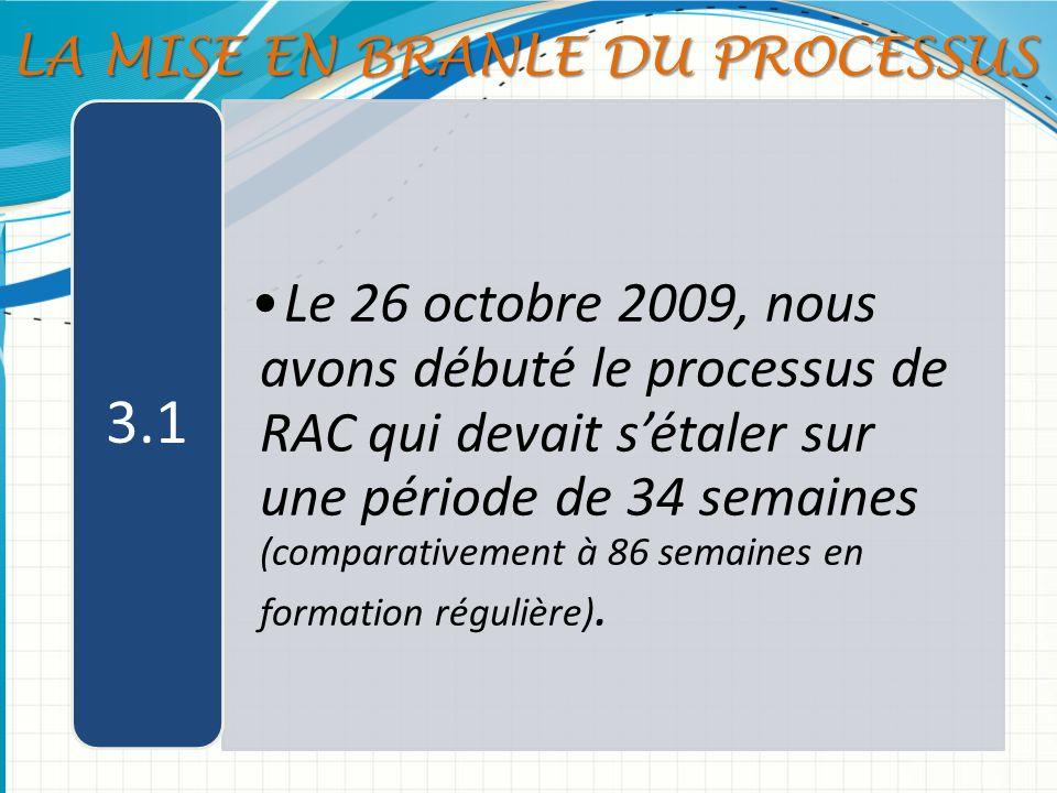 Le 26 octobre 2009, nous avons débuté le processus de RAC qui devait sétaler sur une période de 34 semaines (comparativement à 86 semaines en formatio
