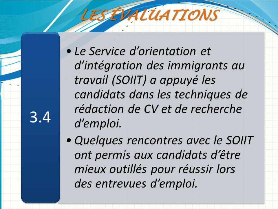 Le Service dorientation et dintégration des immigrants au travail (SOIIT) a appuyé les candidats dans les techniques de rédaction de CV et de recherch
