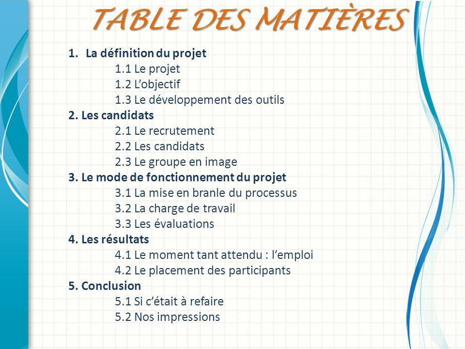 1.La définition du projet 1.1 Le projet 1.2 Lobjectif 1.3 Le développement des outils 2. Les candidats 2.1 Le recrutement 2.2 Les candidats 2.3 Le gro