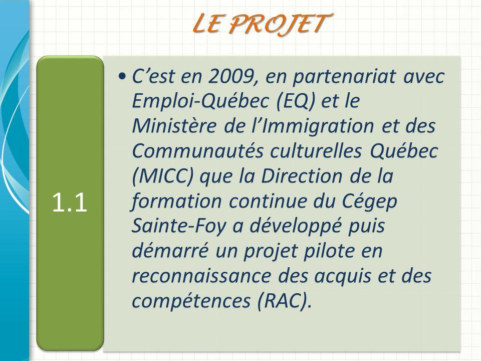 Cest en 2009, en partenariat avec Emploi-Québec (EQ) et le Ministère de lImmigration et des Communautés culturelles Québec (MICC) que la Direction de