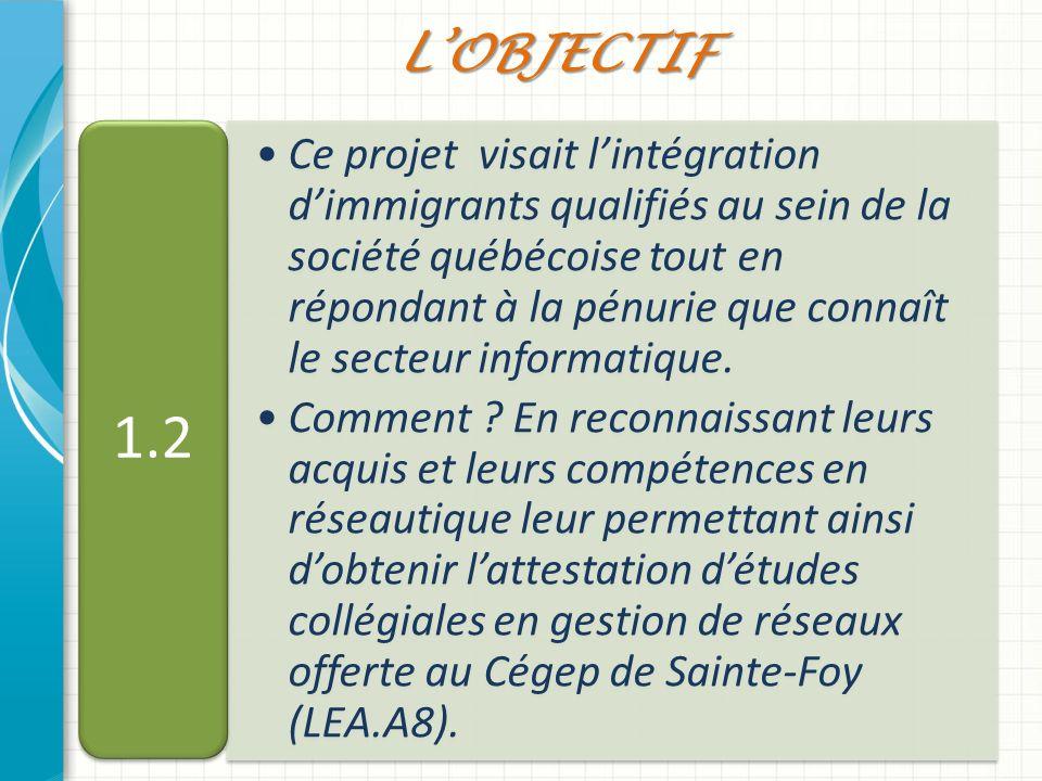 Ce projet visait lintégration dimmigrants qualifiés au sein de la société québécoise tout en répondant à la pénurie que connaît le secteur informatiqu