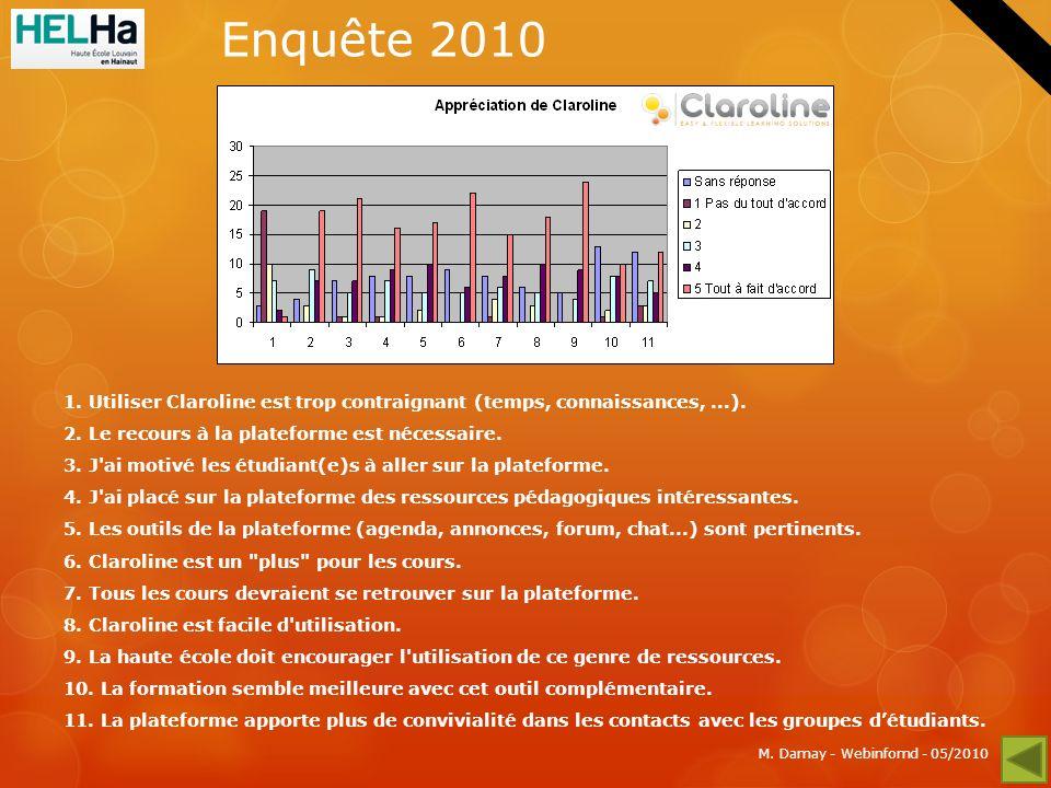 M. Damay - Webinfomd - 05/2010 Enquête 2010 1.