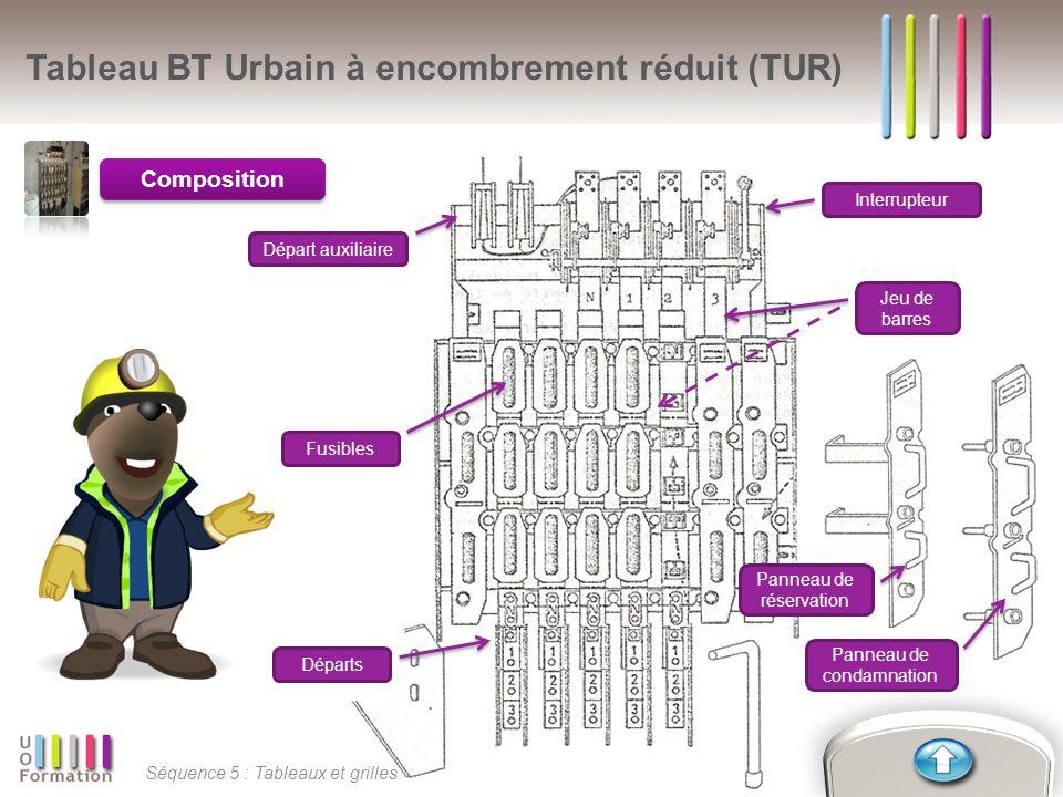 Séquence 5 : Tableaux et grilles Composition Tableau BT Urbain à encombrement réduit (TUR) Départ auxiliaire Interrupteur Jeu de barres Départs Fusibl