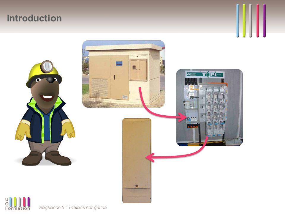 Séquence 5 : Tableaux et grilles Rôles Tableau Interface de Puissance et dInformation (TIPI) Possibilité de mettre directement en court circuit et à la terre, la liaison aval du transformateur (conformité à lUTE C18-510 pour l encadrement dune zone de travail) ; Protection des opérateurs contre les contacts directs avec les pièces sous tension par un degré de protection approprié (IP2X) ; Intégration dinterfaces permettant la réalimentation de lensemble des départs BT par une source externe au poste comme un groupe électrogène ; Intégration dun départ protégé déclairage public dintensité 60 A pour lalimentation dun coffret déclairage public ; Intégration dun socle de prise de courant protégé pour les branchements déquipements électriques mobiles ; Possibilité dextension des circuits dalimentation.