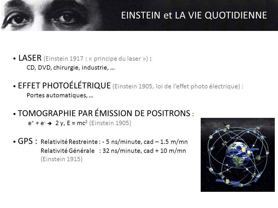 EINSTEIN et LA VIE QUOTIDIENNE LASER (Einstein 1917 : « principe du laser ») : CD, DVD, chirurgie, industrie, … EFFET PHOTOÉLÉTRIQUE (Einstein 1905, l