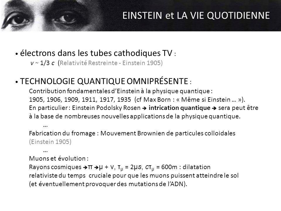 EINSTEIN et LA VIE QUOTIDIENNE électrons dans les tubes cathodiques TV : v ~ 1/3 c (Relativité Restreinte - Einstein 1905) TECHNOLOGIE QUANTIQUE OMNIP
