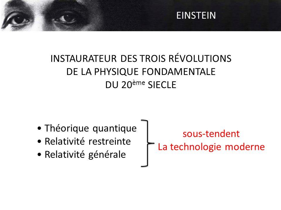 EINSTEIN INSTAURATEUR DES TROIS RÉVOLUTIONS DE LA PHYSIQUE FONDAMENTALE DU 20 ème SIECLE Théorique quantique Relativité restreinte Relativité générale