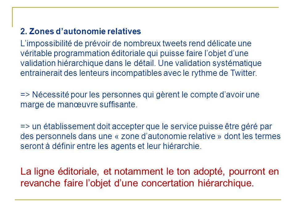 2. Zones dautonomie relatives Limpossibilité de prévoir de nombreux tweets rend délicate une véritable programmation éditoriale qui puisse faire lobje