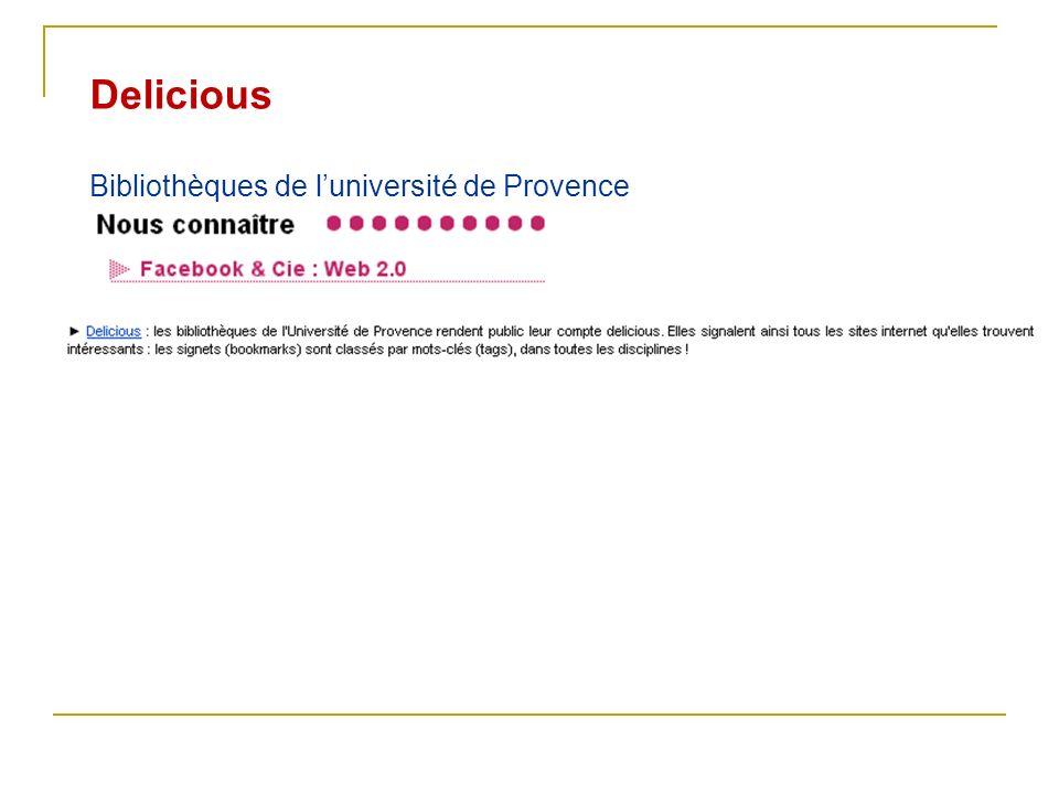 Delicious Bibliothèques de luniversité de Provence