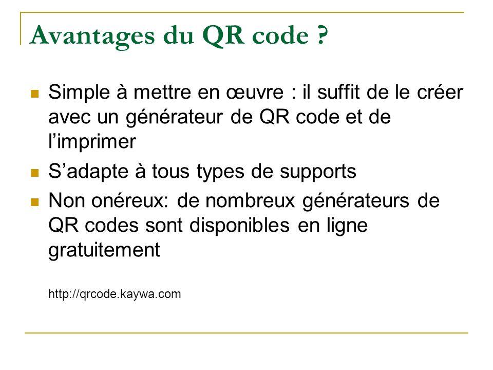 Avantages du QR code ? Simple à mettre en œuvre : il suffit de le créer avec un générateur de QR code et de limprimer Sadapte à tous types de supports