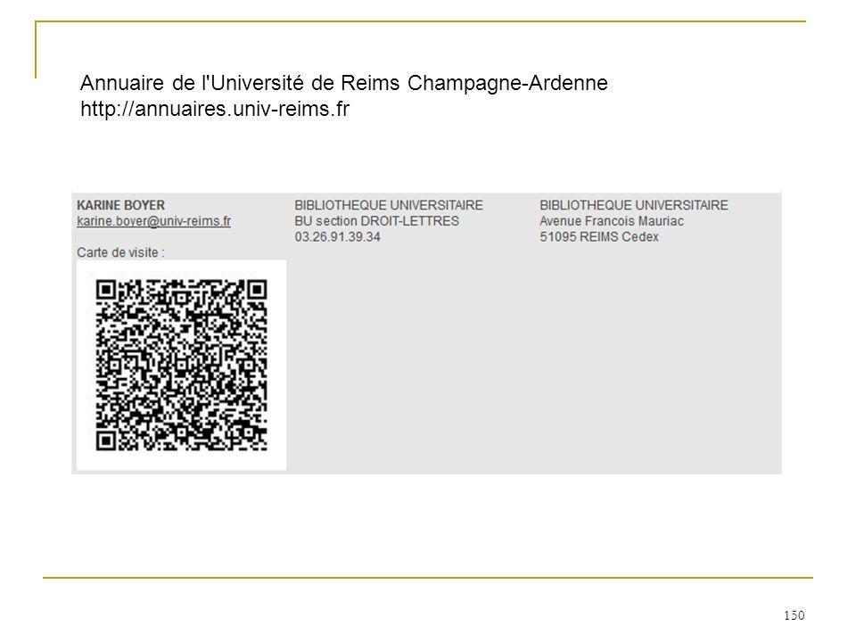 150 Annuaire de l'Université de Reims Champagne-Ardenne http://annuaires.univ-reims.fr