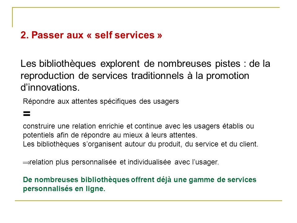 2. Passer aux « self services » Les bibliothèques explorent de nombreuses pistes : de la reproduction de services traditionnels à la promotion dinnova