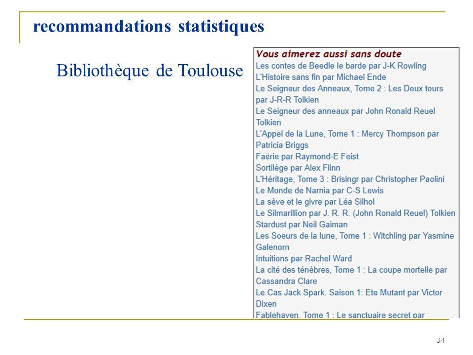 34 recommandations statistiques Bibliothèque de Toulouse