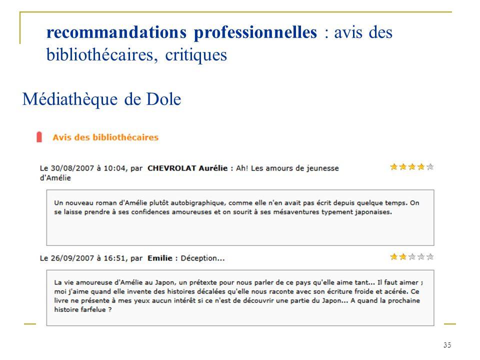 35 recommandations professionnelles : avis des bibliothécaires, critiques Médiathèque de Dole