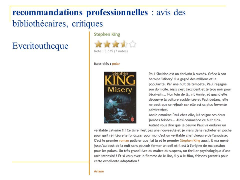 36 recommandations professionnelles : avis des bibliothécaires, critiques Everitoutheque