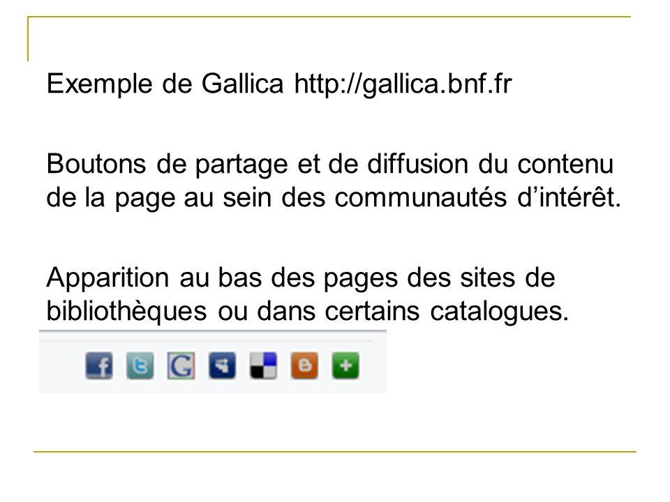 Exemple de Gallica http://gallica.bnf.fr Boutons de partage et de diffusion du contenu de la page au sein des communautés dintérêt. Apparition au bas