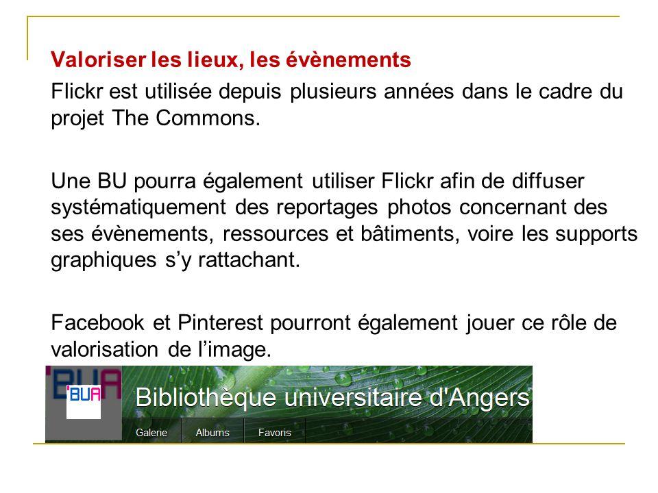 Valoriser les lieux, les évènements Flickr est utilisée depuis plusieurs années dans le cadre du projet The Commons. Une BU pourra également utiliser
