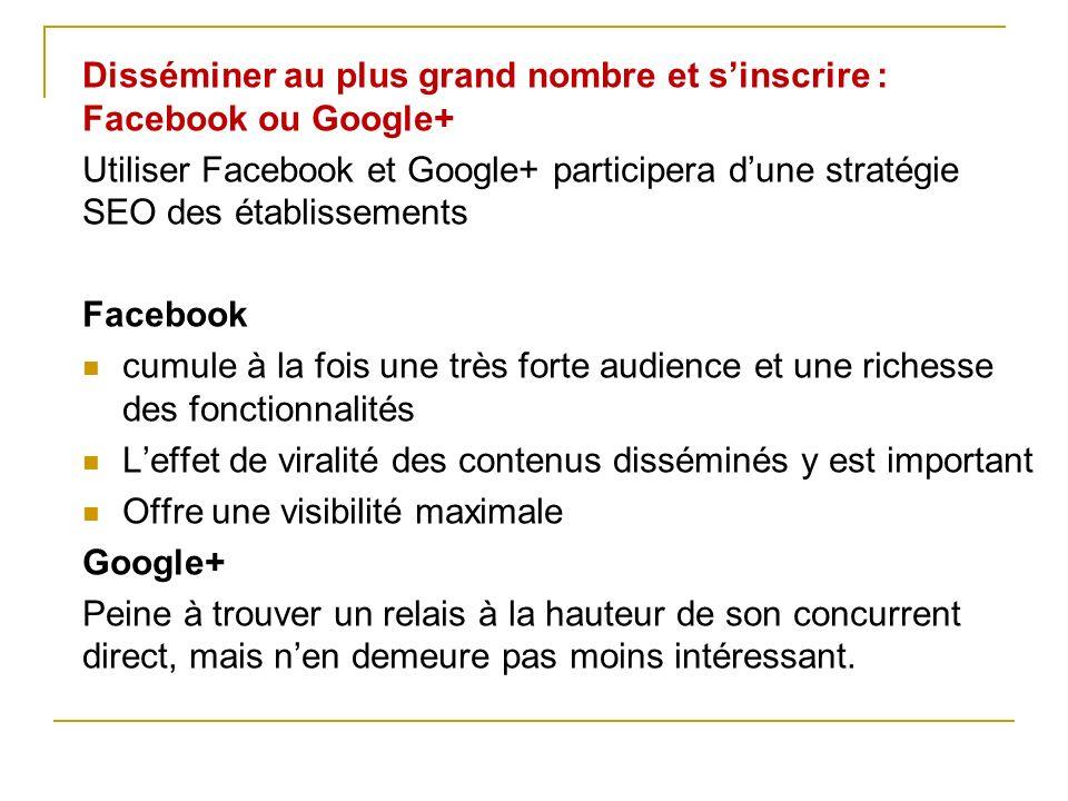Disséminer au plus grand nombre et sinscrire : Facebook ou Google+ Utiliser Facebook et Google+ participera dune stratégie SEO des établissements Face
