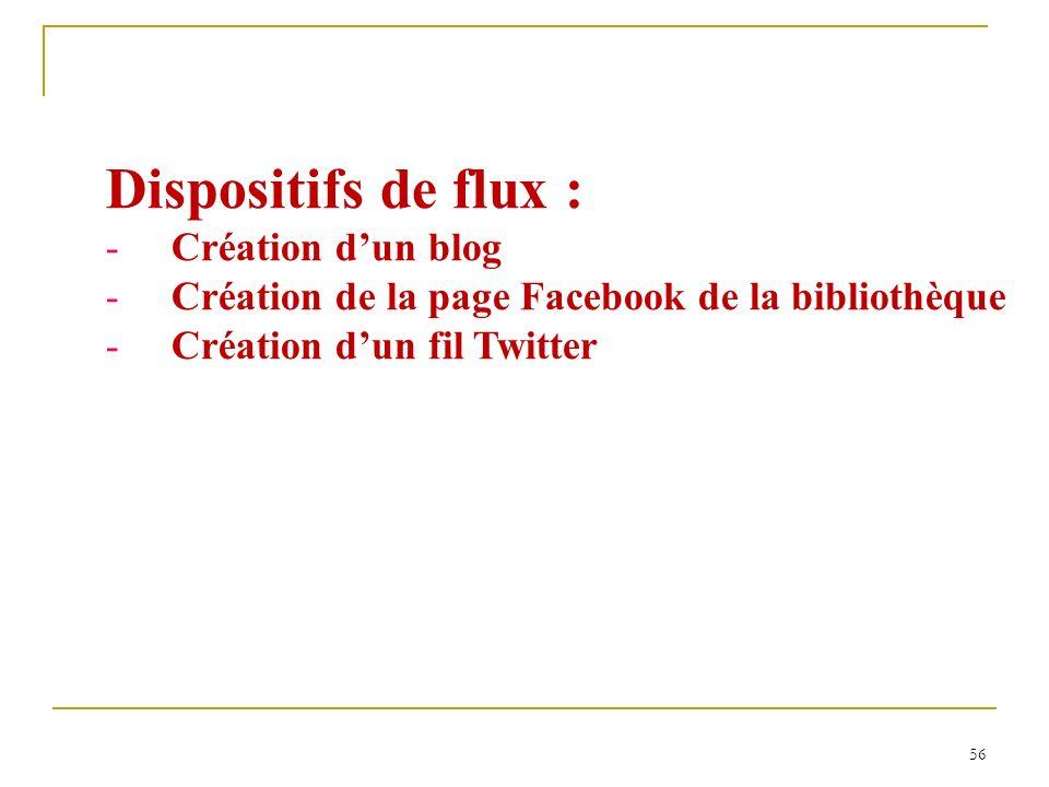 56 Dispositifs de flux : -Création dun blog -Création de la page Facebook de la bibliothèque -Création dun fil Twitter