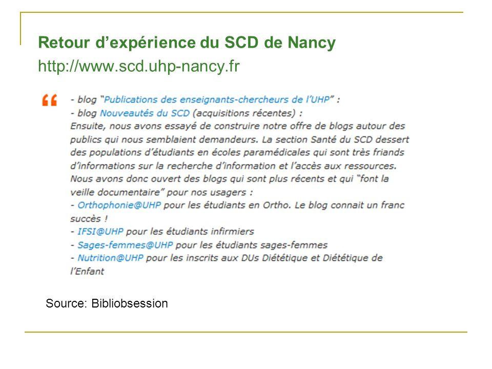 Retour dexpérience du SCD de Nancy http://www.scd.uhp-nancy.fr Source: Bibliobsession