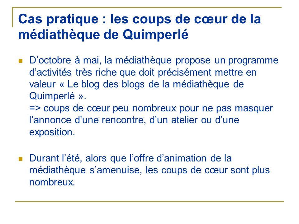 Cas pratique : les coups de cœur de la médiathèque de Quimperlé Doctobre à mai, la médiathèque propose un programme dactivités très riche que doit pré