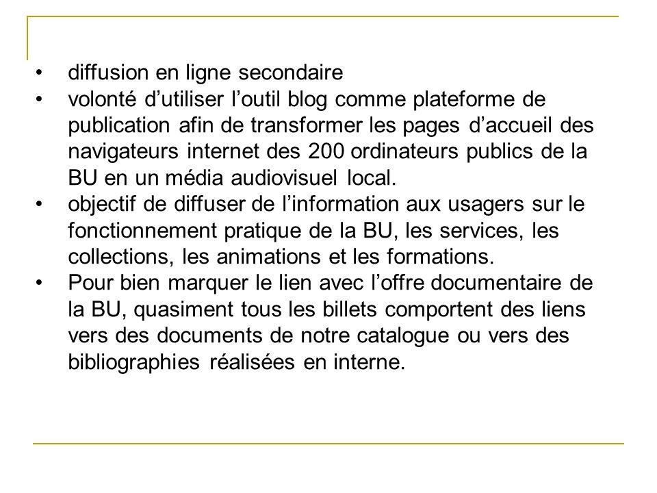 diffusion en ligne secondaire volonté dutiliser loutil blog comme plateforme de publication afin de transformer les pages daccueil des navigateurs int