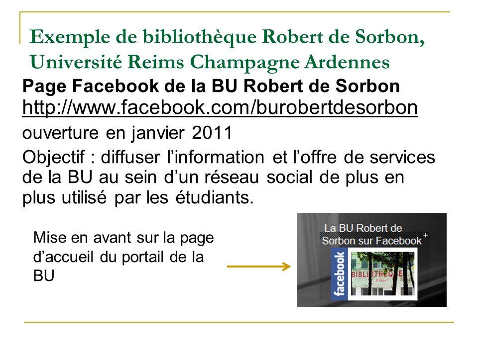 Exemple de bibliothèque Robert de Sorbon, Université Reims Champagne Ardennes Page Facebook de la BU Robert de Sorbon http://www.facebook.com/burobert