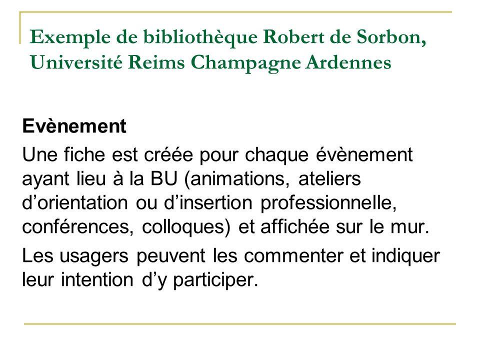 Exemple de bibliothèque Robert de Sorbon, Université Reims Champagne Ardennes Evènement Une fiche est créée pour chaque évènement ayant lieu à la BU (