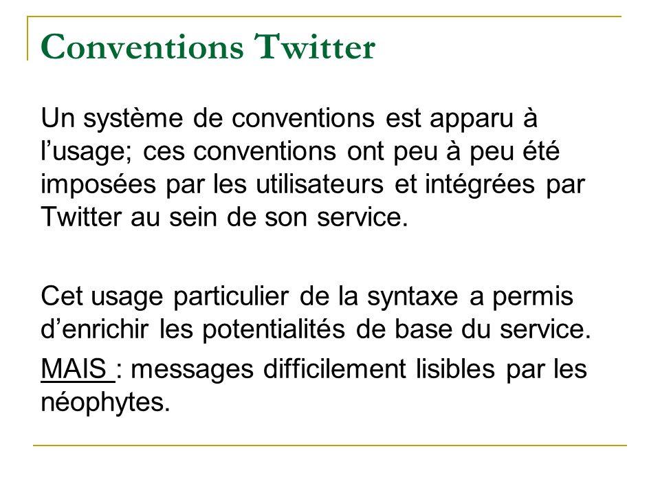 Conventions Twitter Un système de conventions est apparu à lusage; ces conventions ont peu à peu été imposées par les utilisateurs et intégrées par Tw