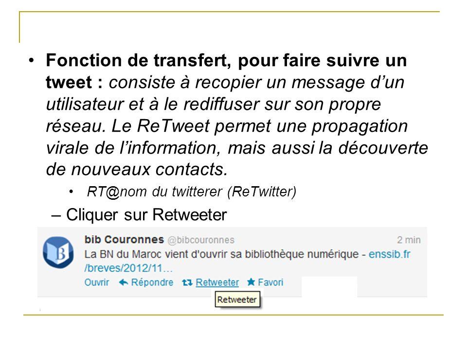 Fonction de transfert, pour faire suivre un tweet : consiste à recopier un message dun utilisateur et à le rediffuser sur son propre réseau. Le ReTwee
