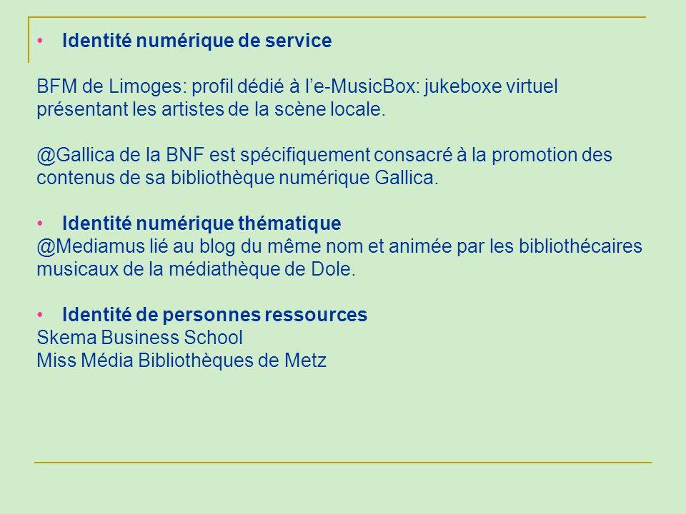 Identité numérique de service BFM de Limoges: profil dédié à le-MusicBox: jukeboxe virtuel présentant les artistes de la scène locale. @Gallica de la